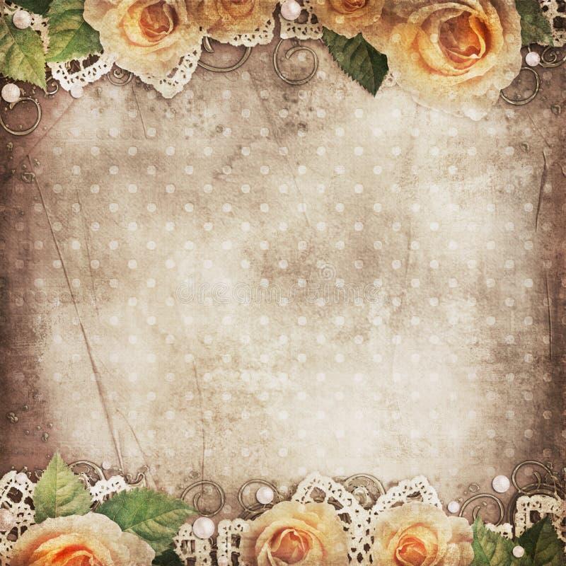 Fundo bonito com rosas, laço do vintage, pérolas ilustração do vetor