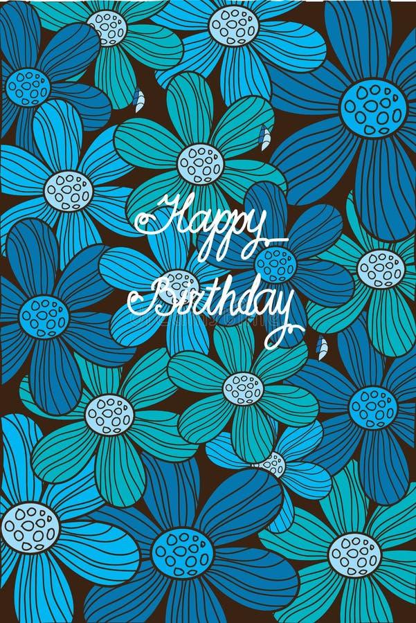 Fundo bonito com teste padrão de flores azuis ilustração do vetor