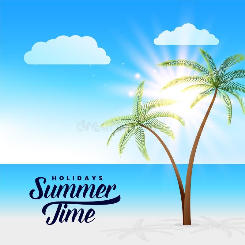 Fundo bonito da cena da praia do paraíso do verão ilustração stock
