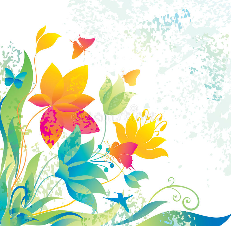 Fundo bonito da flor com borboleta e coluna ilustração do vetor