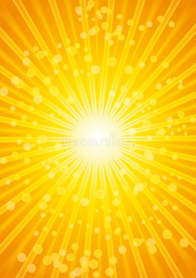 Fundo bonito da onda de calor do sunburst com lente. ilustração do vetor