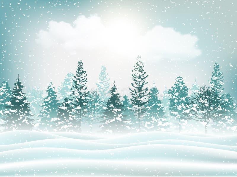 Fundo bonito da paisagem do inverno do feriado Vetor ilustração royalty free
