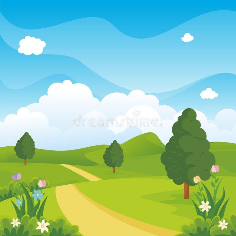 Fundo bonito da paisagem da mola com estilo dos desenhos animados ilustração royalty free