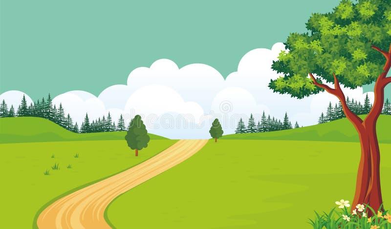 Fundo bonito da paisagem da mola com estilo dos desenhos animados ilustração do vetor