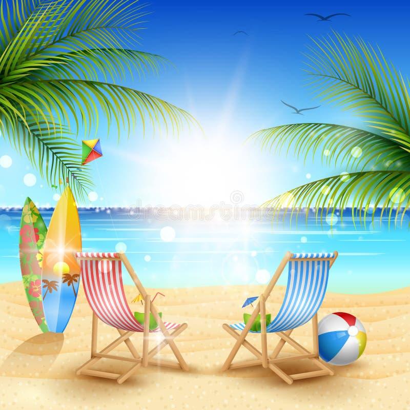 Fundo bonito da praia do verão ilustração do vetor