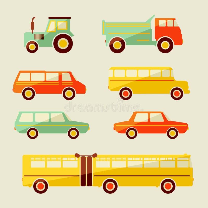 Fundo bonito do bebê do vetor com ícones do carro Teste padrão das crianças dos desenhos animados ilustração royalty free
