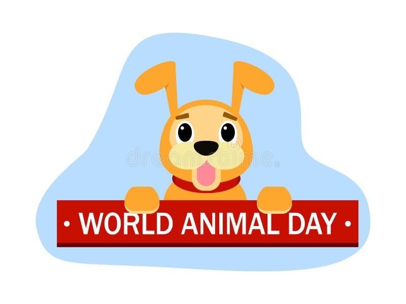 Fundo bonito do conceito do cão do dia animal do mundo, estilo liso ilustração do vetor