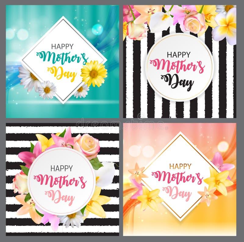 Fundo bonito do dia feliz da mãe s com os cartões ajustados da coleção das flores Ilustração do vetor ilustração stock