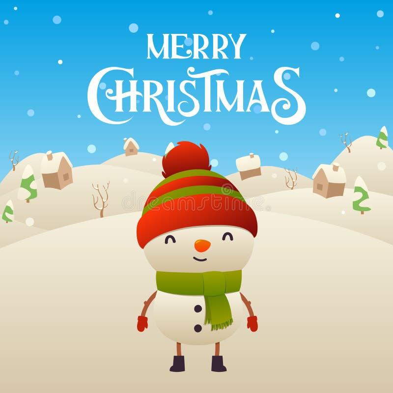 Fundo bonito do Feliz Natal do caráter do boneco de neve dos desenhos animados ilustração royalty free