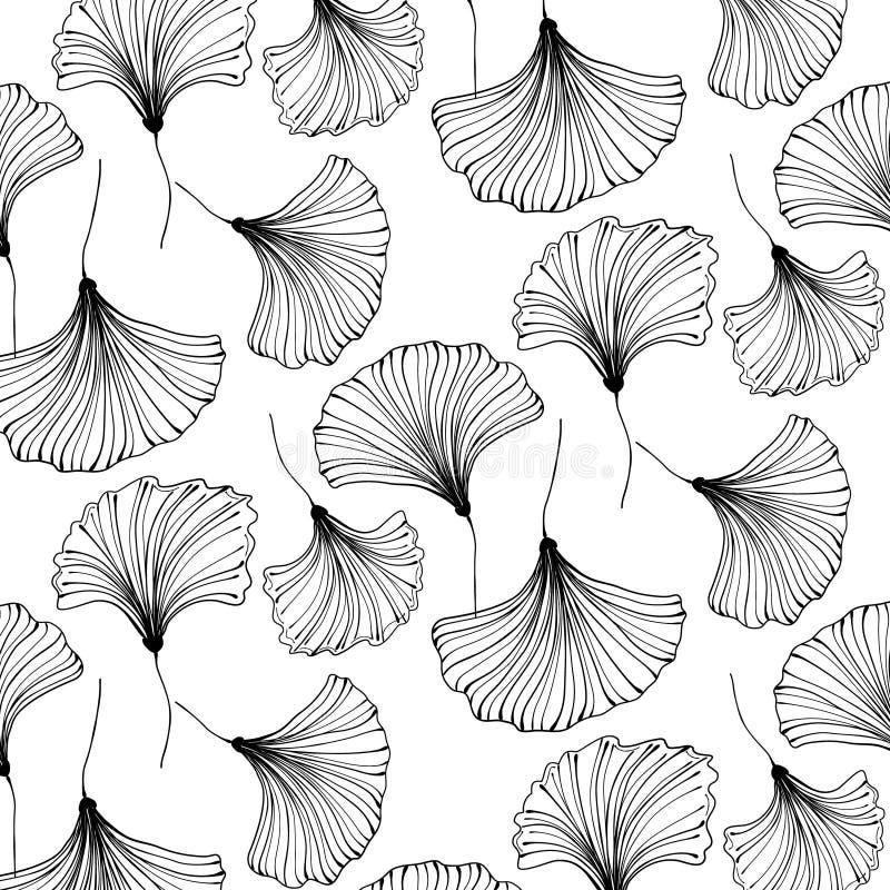 Fundo bonito do gingko japonês do vetor Decoração floral de matéria têxtil Teste padrão da folha do vintage Design de interiores  ilustração royalty free