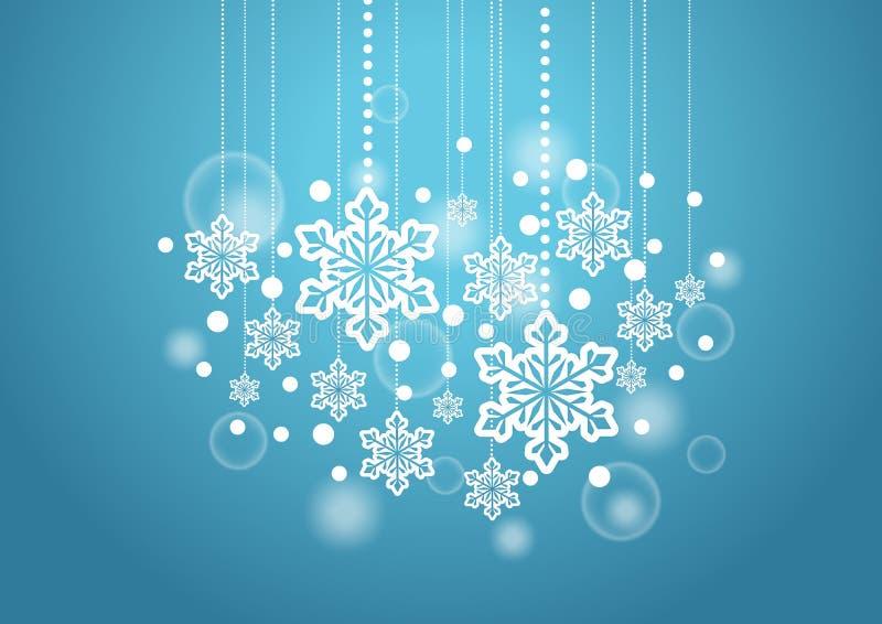 Fundo bonito do inverno com os flocos da neve que penduram o teste padrão ilustração stock