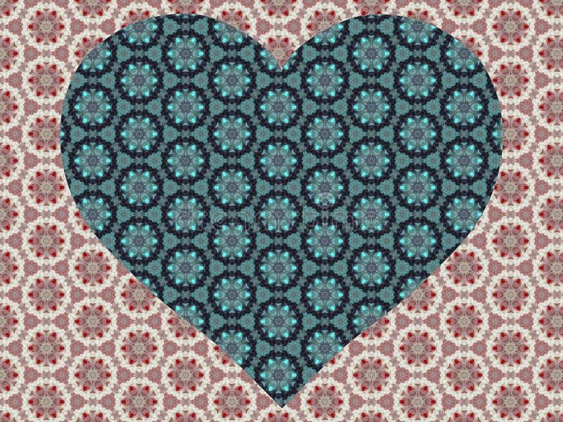 Fundo bonito do laço com coração e flores ilustração royalty free