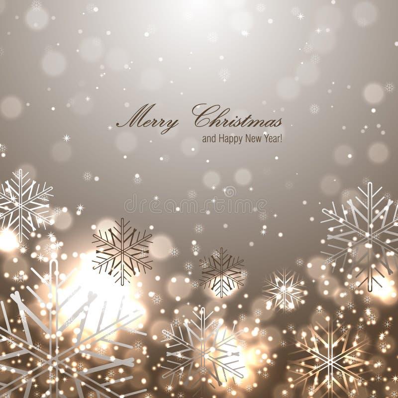 Fundo bonito do Natal com flocos de neve ilustração royalty free