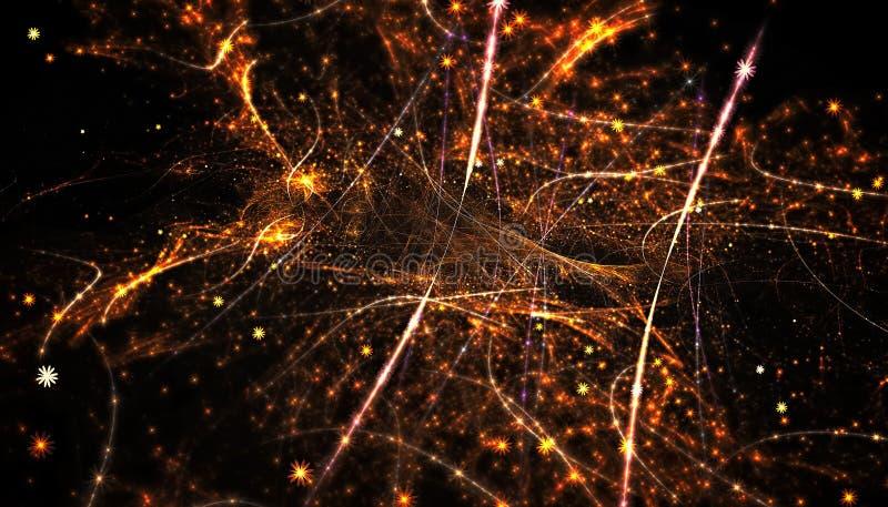 Fundo bonito do ouro de partículas e de linhas de incandescência com profundidade de campo e de bokeh 3d a ilustração, 3d rende foto de stock