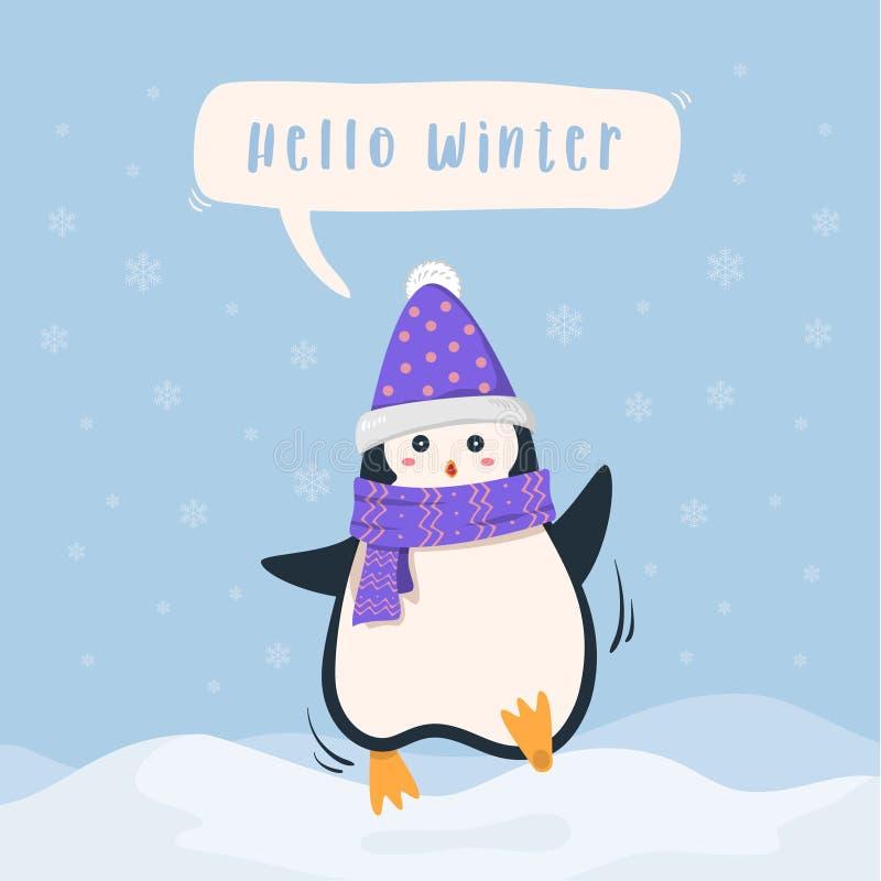 Fundo bonito do pinguim do feriado de inverno ilustração royalty free