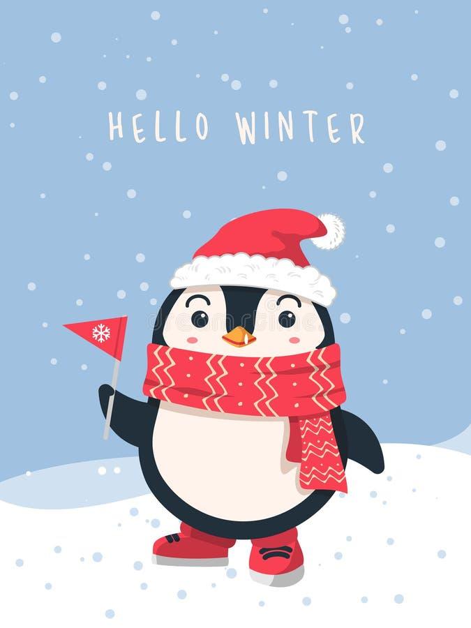 Fundo bonito do pinguim do projeto liso do inverno ilustração do vetor