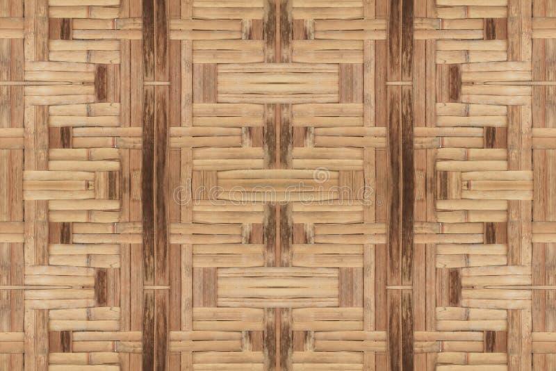 Fundo bonito do teste padrão da textura velha de bambu da parede do weave imagens de stock