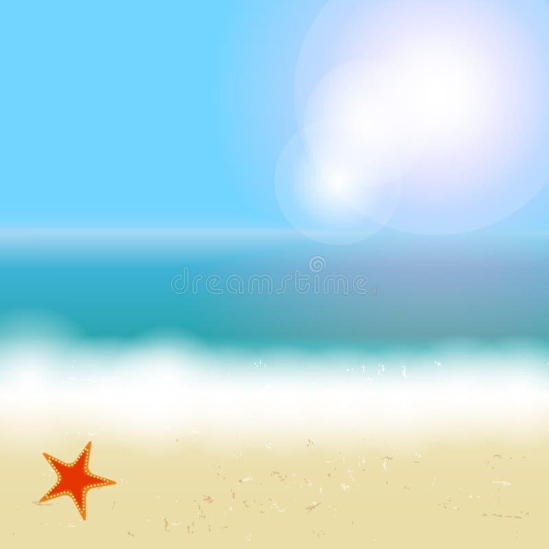 Fundo bonito do verão com praia, mar, sol ilustração do vetor
