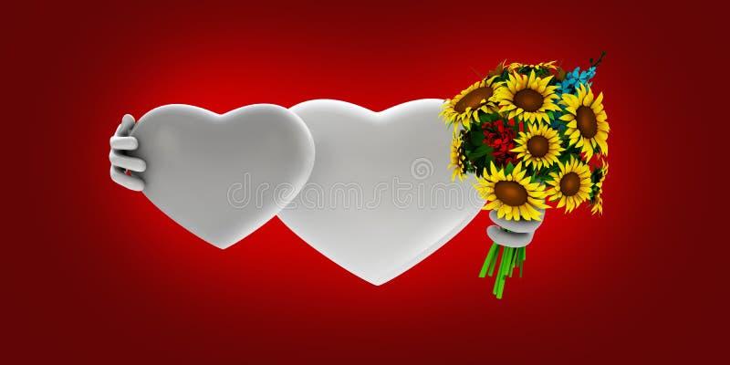 Fundo bonito do vermelho do onw dos corações ilustração royalty free