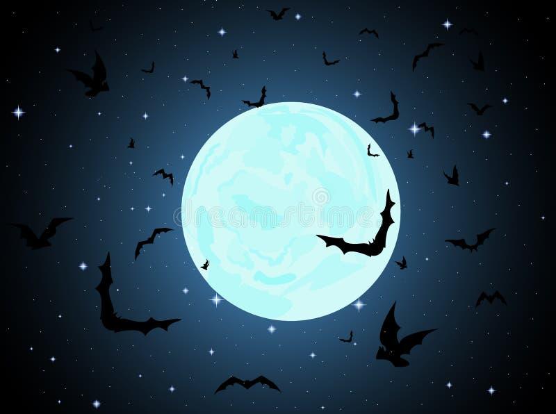 Fundo bonito do vetor com Lua cheia, estrelas e bastões do voo ilustração stock