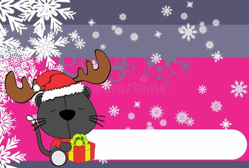 Fundo bonito dos desenhos animados do chapéu da rena de Santa do gato do bebê ilustração stock
