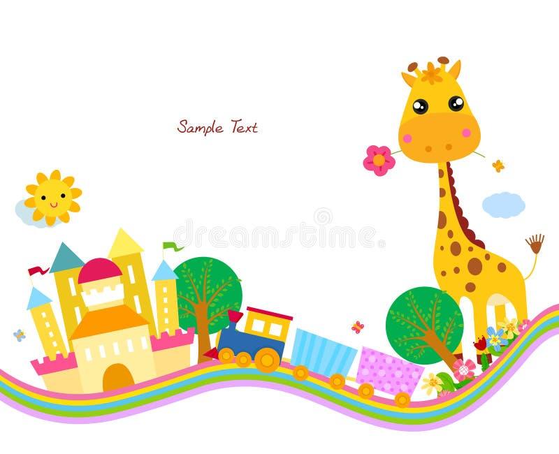 Fundo bonito, giraffe ilustração do vetor