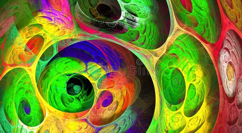 Fundo borbulhante do fractal do redemoinho colorido Composição artística brilhante abstrata do movimento Bio teste padrão dinâmic ilustração royalty free