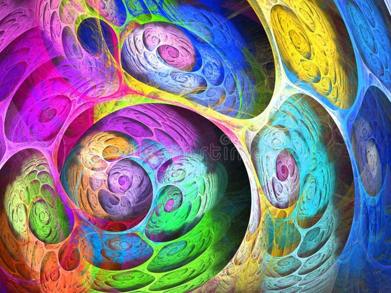 Fundo borbulhante do fractal do redemoinho colorido Composição artística brilhante abstrata do movimento Bio teste padrão dinâmic ilustração do vetor