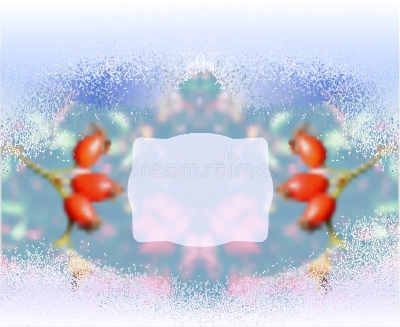 Fundo borrado congelado inverno com rosehips ilustração stock