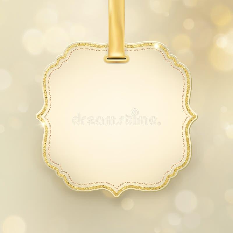 Fundo borrado defocused de incandescência do ouro do bokeh do brilho do sumário do feriado do Natal com etiqueta e espaço para o  ilustração royalty free