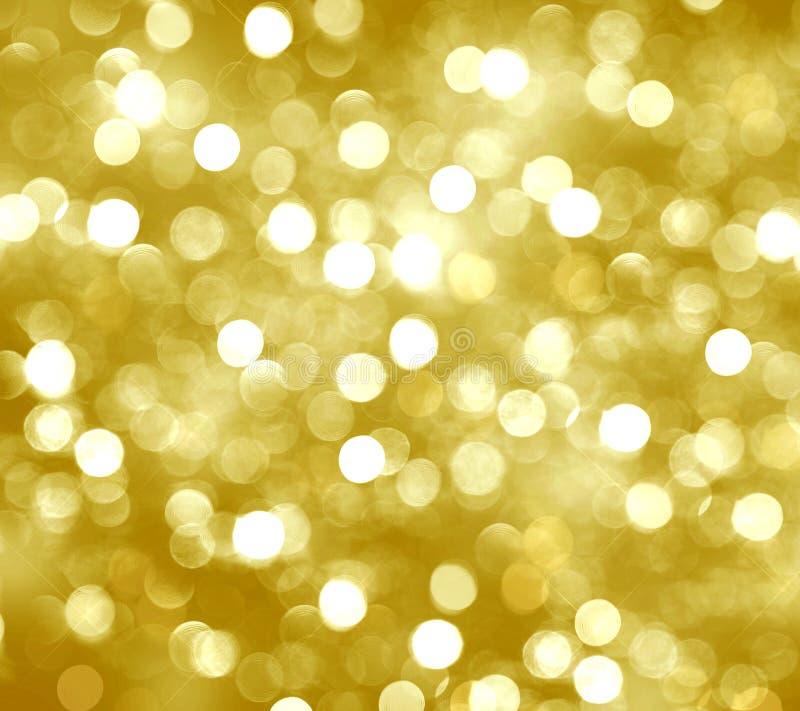 Fundo borrado, ouro, ardendo, brilho, círculos amarelos, holi ilustração do vetor