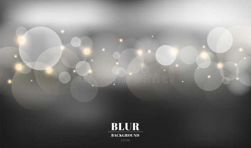 Fundo borrado preto do sumário com sparkles do bokeh e do ouro Você pode usar-se para o cartão, inseto, convite, cartaz, comprova ilustração do vetor