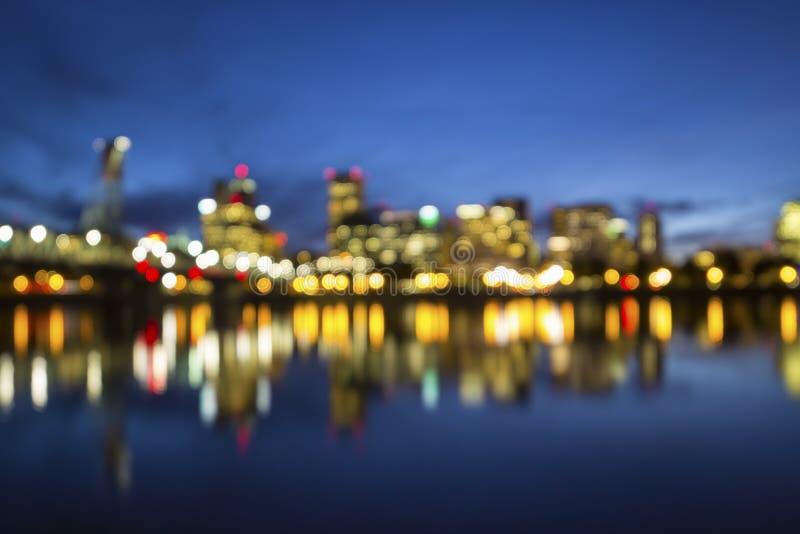 Fundo borrado skyline de Portland Oregon fotografia de stock