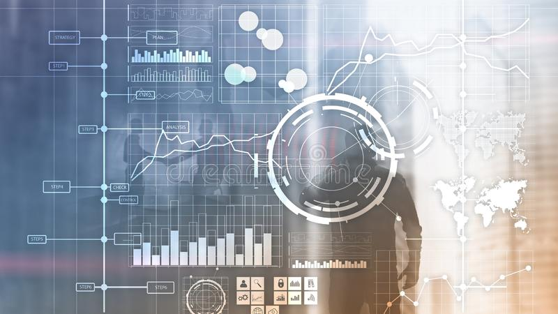Fundo borrado transparente do painel da análise de KPI do indicador de desempenho chave do BI da inteligência empresarial ilustração do vetor
