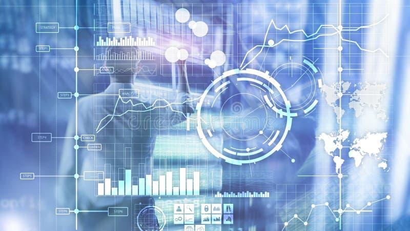 Fundo borrado transparente do painel da análise de KPI do indicador de desempenho chave do BI da inteligência empresarial imagens de stock royalty free