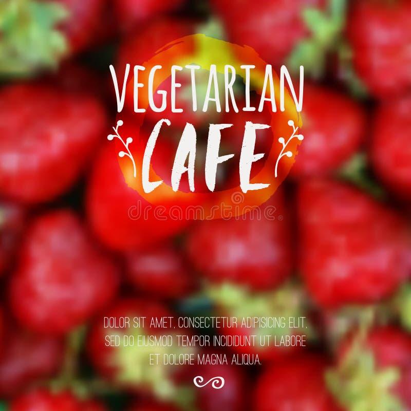 Fundo borrado vetor com etiqueta da morango e do eco Alimento do fruto fresco, vegetariano e conceito saudáveis do eco ilustração royalty free