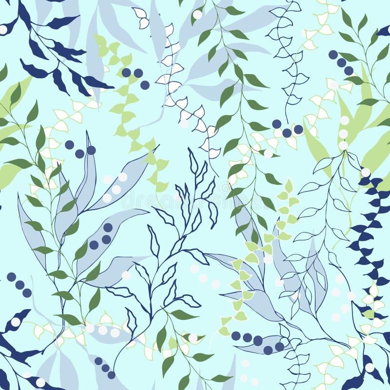 Fundo botânico de ramos e das folhas azuis Textura sem emenda clara para cartões, telhas, convites, cumprimentos e propaganda ilustração stock