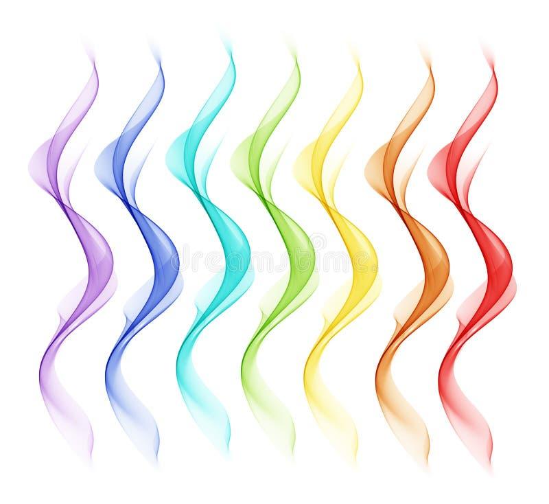 Fundo branco abstrato com linhas coloridas sob a forma das ondas ilustração stock
