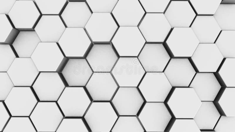Fundo branco abstrato da geometria do hexágono 3d rendem de primitivos simples com seis ?ngulos na parte dianteira ilustração do vetor