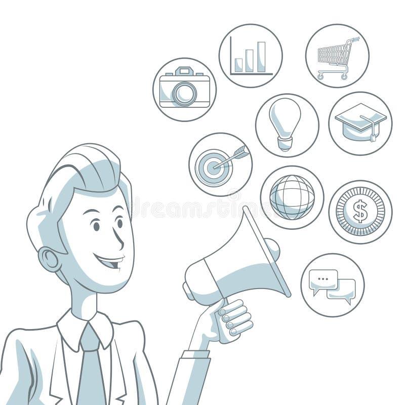 Fundo branco com as seções da cor do homem de negócios que guardam o megafone do mercado digital dos ícones da difusão ilustração do vetor