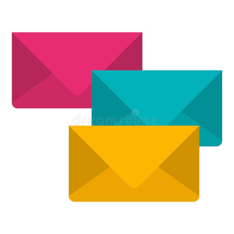 Fundo branco com grupo colorido de envelopes do correio ilustração do vetor