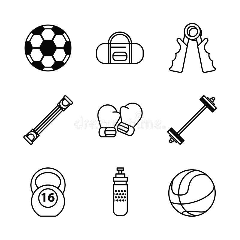 Fundo branco com grupo do monochrome de elementos dos esportes ilustração royalty free