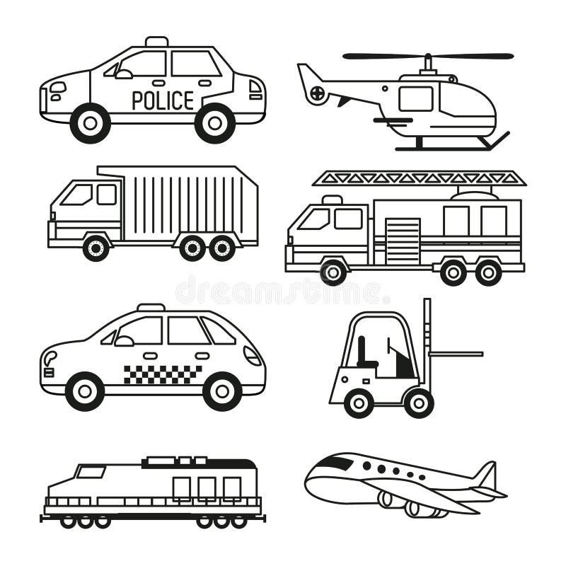 Fundo branco com grupo do monochrome de veículos do transporte público e do frete e do transporte aéreo ilustração stock