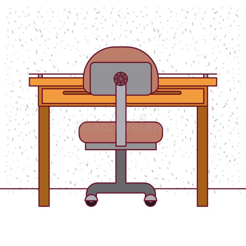 Fundo branco com interior do escritório do lugar de trabalho do close up dos sparkles ilustração do vetor