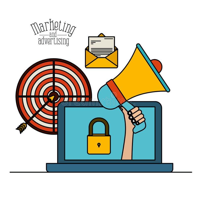 Fundo branco com o portátil colorido do grupo com megafone e alvo para introduzir no mercado e anunciar ilustração stock