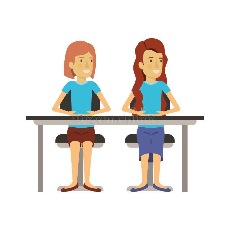 Fundo branco com pares de mulheres que sentam-se na mesa uma com cabelo curto e a outro com cabelo por muito tempo ondulado ilustração stock