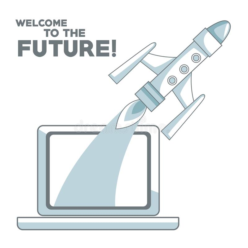 Fundo branco com a proteção das seções da cor da silhueta do foguete que voa à boa vinda do portátil e do texto ao futuro ilustração stock