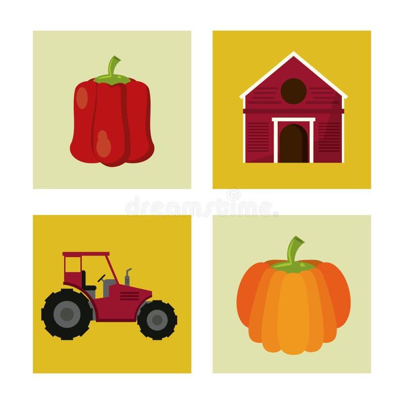 Fundo branco com quadrados coloridos com ícones da exploração agrícola ilustração stock