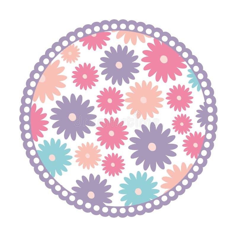 Fundo branco com quadro circular colorido com teste padrão de flores da margarida ilustração stock