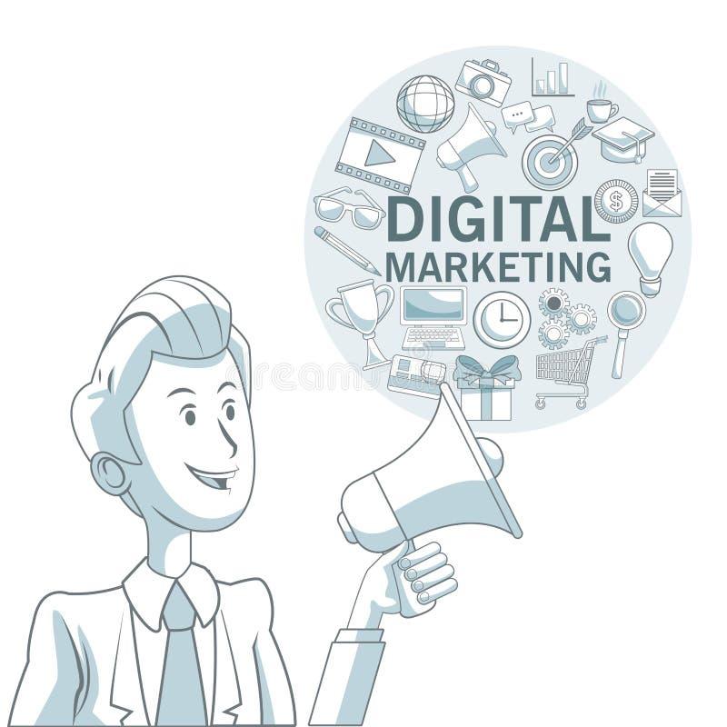 Fundo branco com seções da cor do homem executivo e quadro circular com mercado digital dos ícones ilustração royalty free